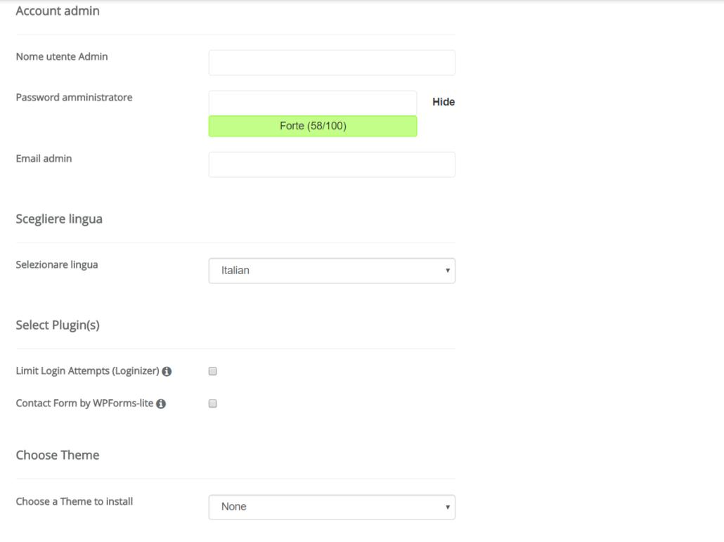 Pagina di installazione WordPress dove selezionare impostazioni dell'account admin.