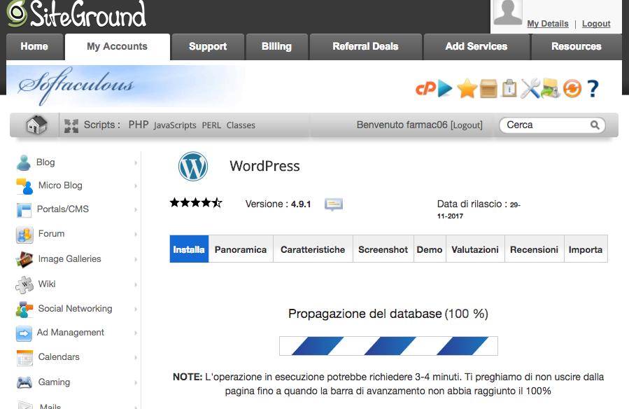 Schermata di caricamento dell'installazione wordpress