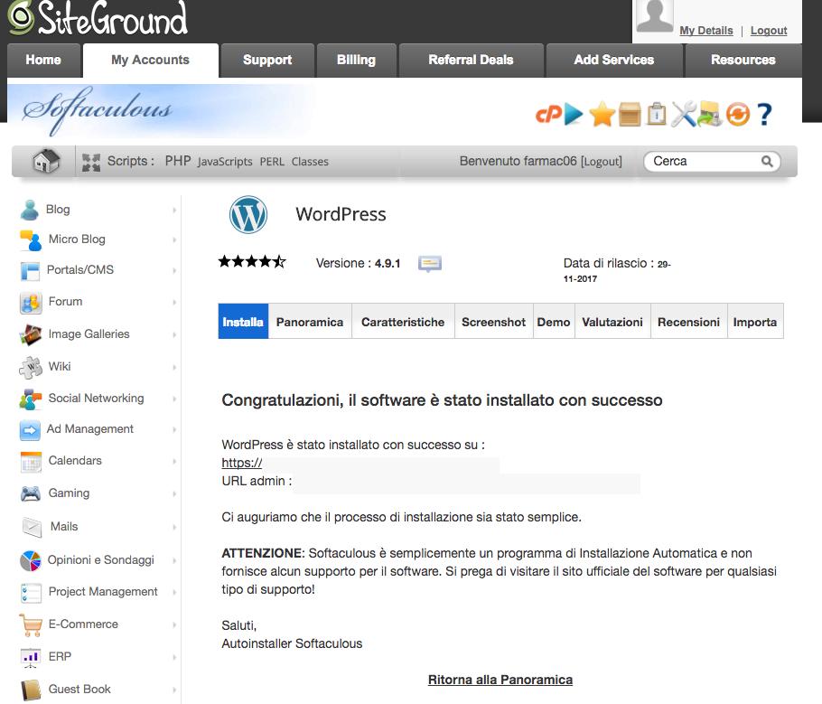 Schermata installazione wordpress completata.