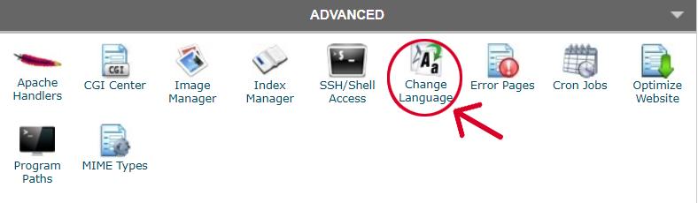 Schermata di selezione cambio lingua cPanel.