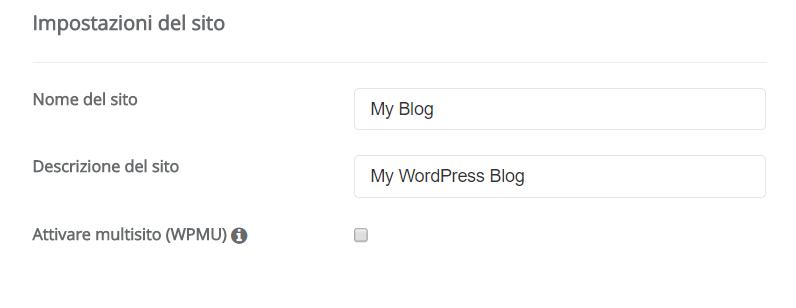 Pagina di installazione WordPress dove inserire il nome del sito e la descrizione.