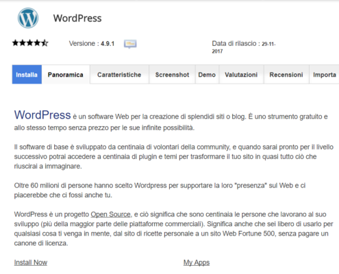 Panoramica installatore WordPress.