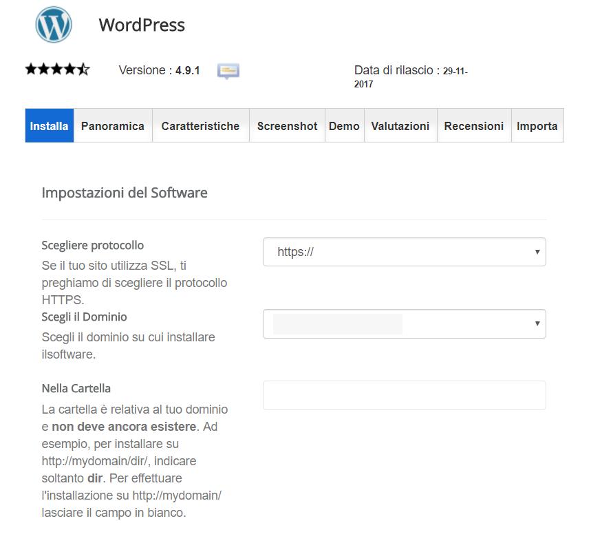 Pagina installazione WordPress con impostazioni del software.