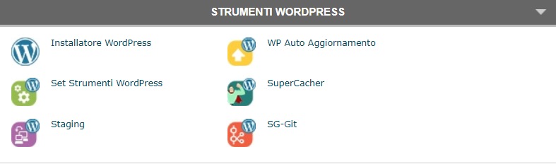 Schermata cPanel con tutti gli Strumenti WordPress.